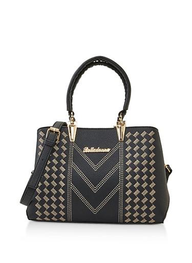 Decorative Stitch Faux Leather Handbag,BLACK,large