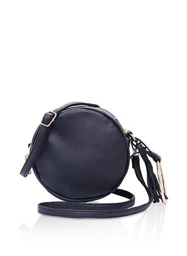 Round Faux Leather Crossbody Bag,BLACK,large