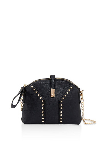 Studded Faux Leather Crossbody Bag,BLACK,large