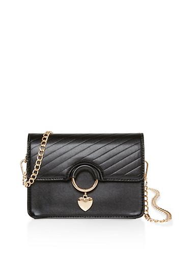 Heart Charm Faux Leather Crossbody Bag,BLACK,large