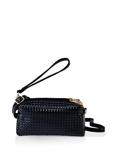 Textured Faux Patent Leather Crossbody Bag,BLACK,large