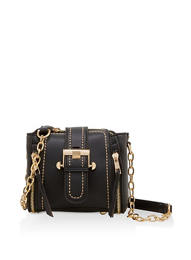 Mini Faux Leather Buckle Crossbody Bag,BLACK,large