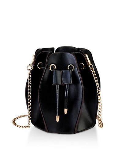Accordion Crossbody Bucket Bag,BLACK,large