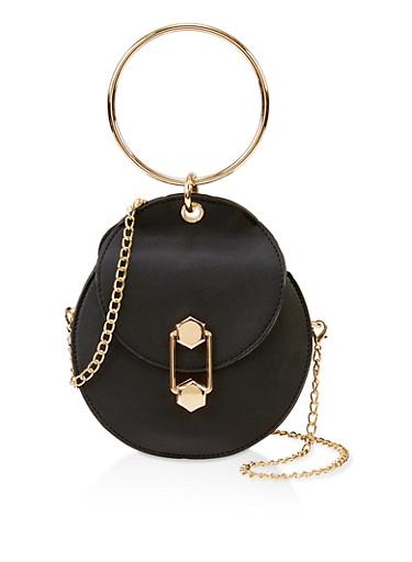 Metallic Handle Round Crossbody Bag,BLACK,large