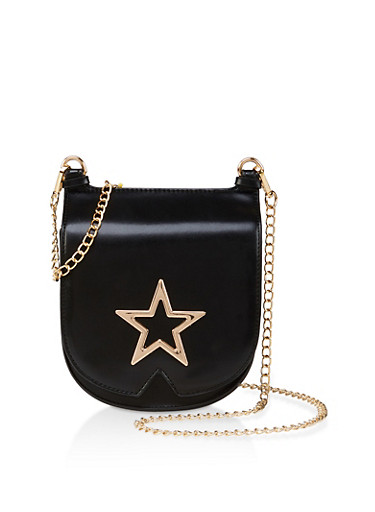Metallic Star Crossbody Bag,BLACK,large