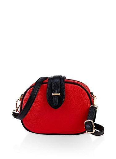 Contrast Trim Crossbody Bag,RED,large