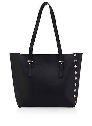 Studded Shopper Tote Bag,BLACK,large