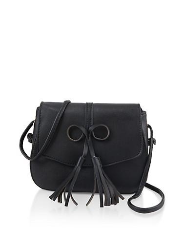 Bow Tassel Crossbody Bag,BLACK,large