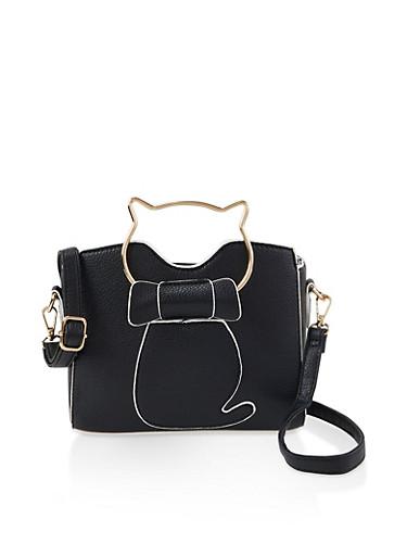 Cat Handle Crossbody Bag,BLACK,large