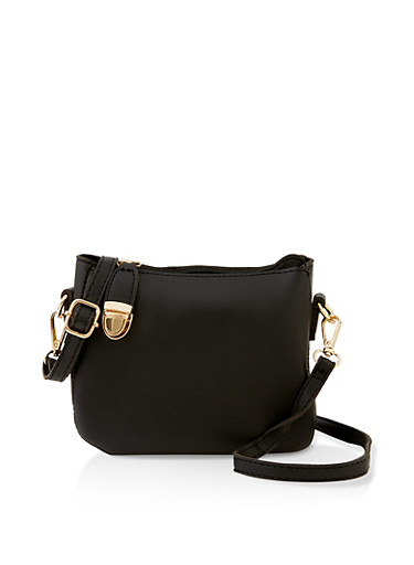 Push Lock Crossbody Bag,BLACK,large