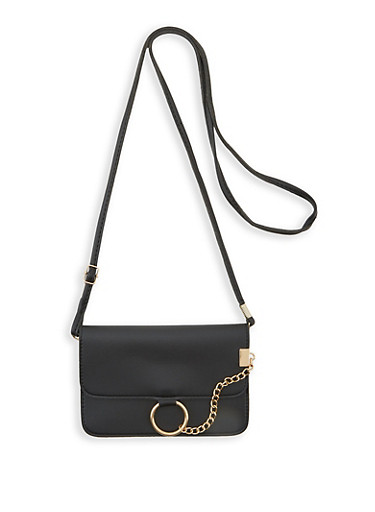 O Ring Chain Detail Flat Crossbody Bag,BLACK,large