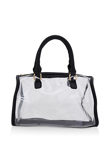Clear Bowler Bag,BLACK,large