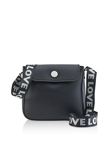 Love Graphic Messenger Bag,BLACK,large