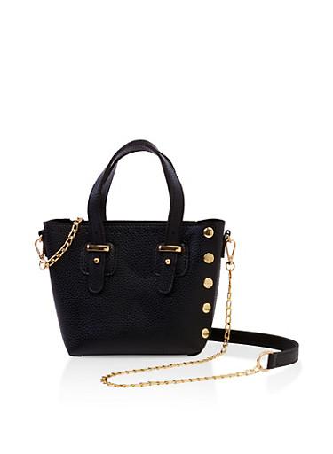 Studded Mini Tote Crossbody Bag,BLACK,large