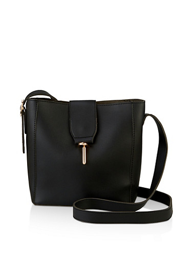 Metallic Lock Crossbody Bag,BLACK,large