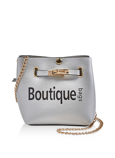 Boutique Graphic Crossbody Bag,SILVER,large