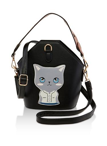 Happy Cat Bucket Crossbody Bag,BLACK,large