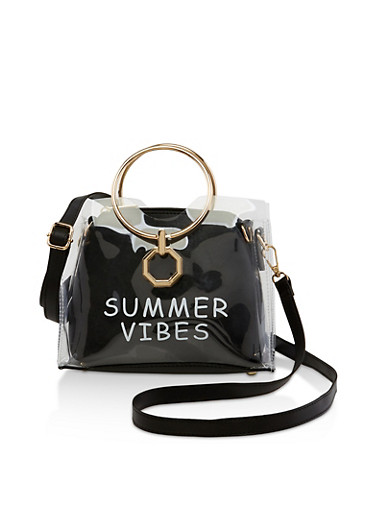 Summer Vibes Clear Handbag,BLACK,large