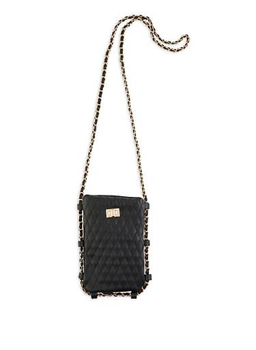 Woven Chain Strap Crossbody Bag,BLACK,large