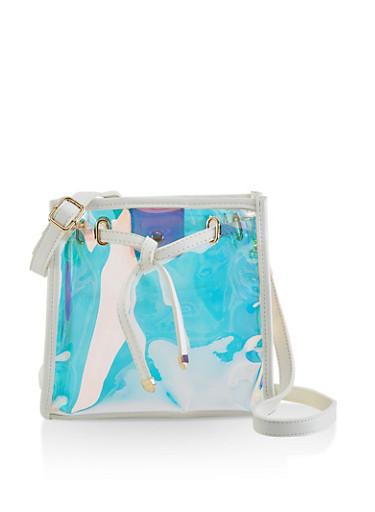 Iridesecent Square Crossbody Bag,WHITE,large