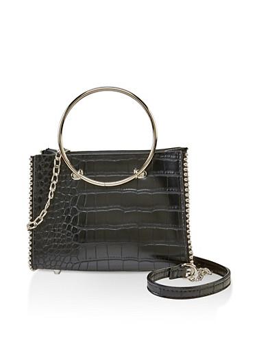 Faux Croc Mini Crossbody Bag,BLACK,large
