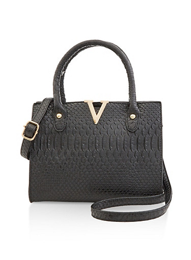 Faux Croc Crossbody Handbag,BLACK,large
