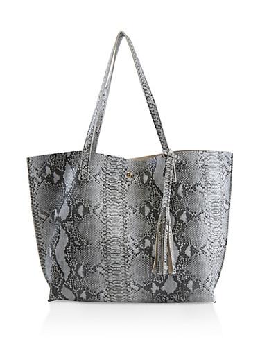 Snake Print Tote Bag,BLACK/WHITE,large