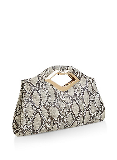 Lip Handle Snake Print Clutch,NATURAL,large