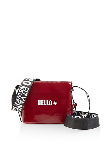 Hashtag Hello Graphic Strap Crossbody Bag,WINE,large