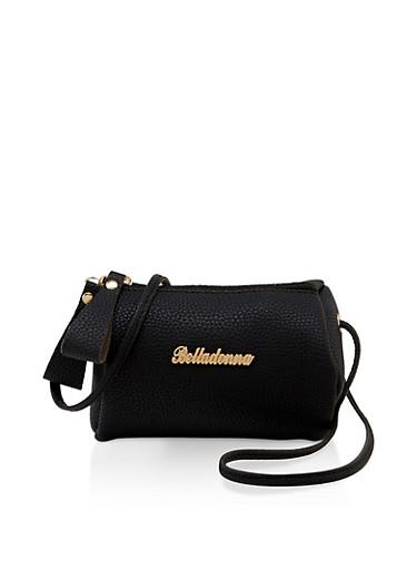 Belladonna Metallic Detail Barrel Crossbody Bag,BLACK,large