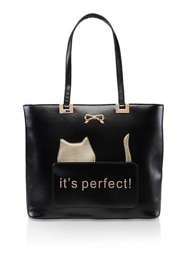 Its Perfect Cat Shopper Tote,BLACK,large