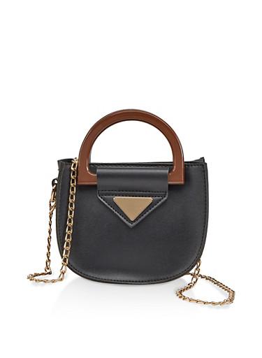 Mini Faux Leather Crossbody Bag,BLACK,large