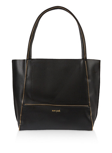 Faux Leather Zipper Detail Tote Bag,BLACK,large