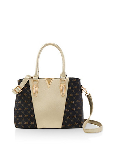 Two Tone Textured Faux Leather Handbag,BLACK,large