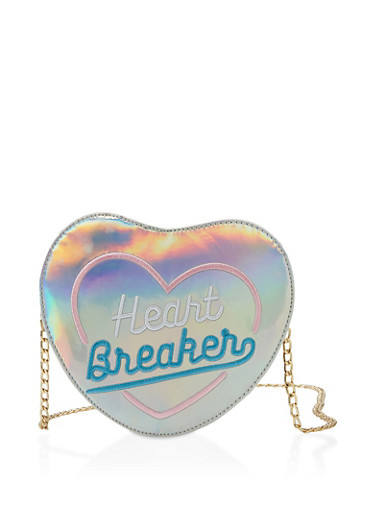 Heart Breaker Embroidered Crossbody Bag,SILVER,large