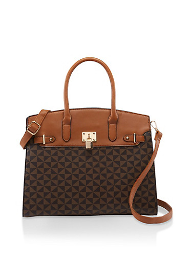 Large Textured Faux Leather Handbag,BROWN,large