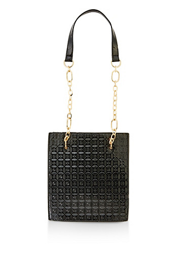 Embossed Chain Strap Tote Bag,BLACK,large