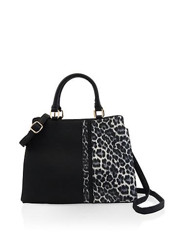 Animal Print Detail Crossbody Handbag,BLACK,large