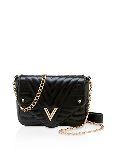 Quilted Chain Crossbody Satchel,BLACK,large