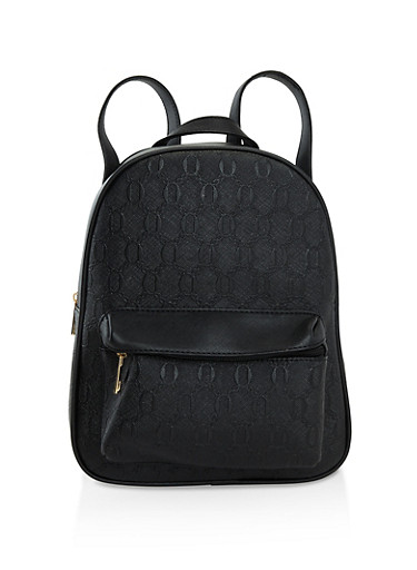 Faux Saffiano Leather Backpack,BLACK,large