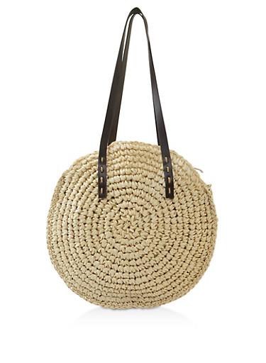 Woven Straw Handbag,NATURAL,large