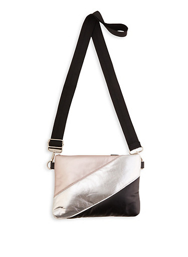 Quilted Color Block Crossbody Bag,BLUSH,large