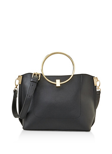 Metallic Ring Handle Crossbody Bag,BLACK,large