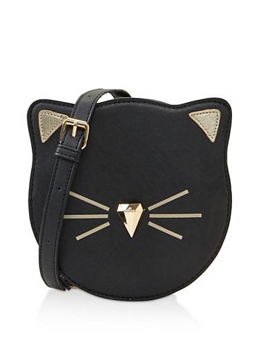 Cat Graphic Crossbody Bag,BLACK,large