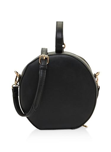 Faux Leather Round Crossbody Bag,BLACK,large