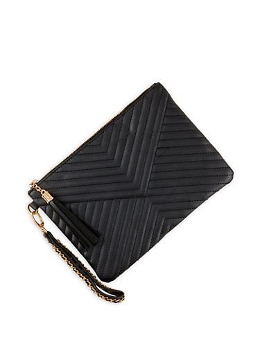 Quilted Tassel Zip Clutch,BLACK,large