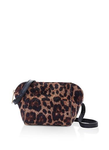 Leopard Faux Fur Crossbody Bag,LEOPARD PRINT,large
