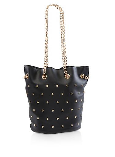 Studded Faux Leather Bucket Bag,BLACK,large