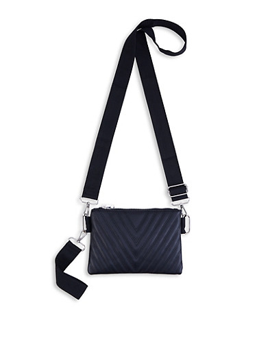 Chevron Quilted Crossbody Bag,BLACK,large