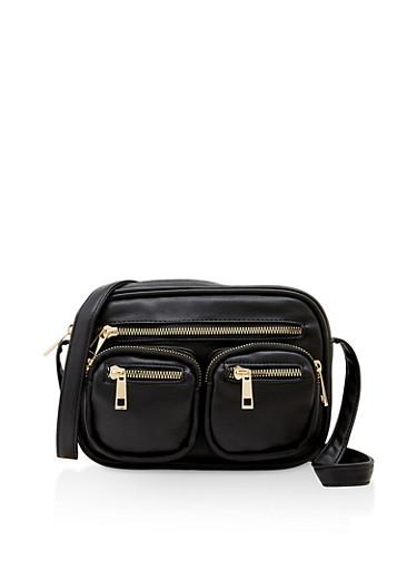 Multi Pocket Crossbody Bag,BLACK,large